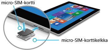 SIM-kortin asettaminen Surface 2: een