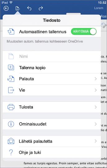 Word for iOS -version tiedostopainikkeen avulla voit muun muassa tulostaa, tallentaa ja lähettää palautetta.