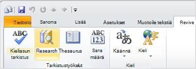 Outlook-valintanauhan Oheistiedot-painike