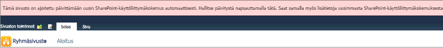 Vaaleanpunainen ilmoitus sivuston automaattisen päivityksen ajoittamisesta