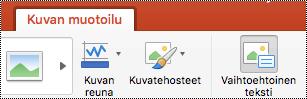 Vaihtoehtoinen teksti -painike PowerPoint for Macin valintanauhassa