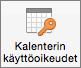 Outlook 2016 for Macin Kalenterin käyttöoikeudet -painike