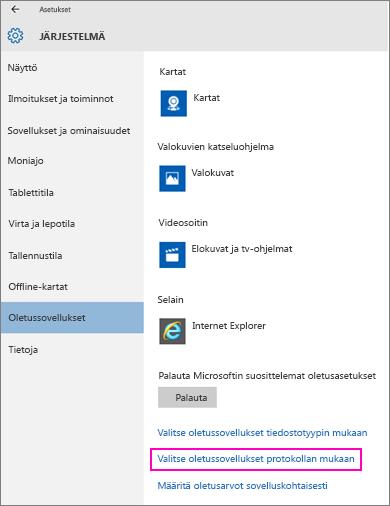 Näyttökuva Windows 10:n Määritä oletusarvot sovelluskohtaisesti -asetuksesta.