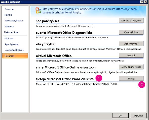 Word 2007:n Wordin asetukset -kohdan Resurssit-ikkuna
