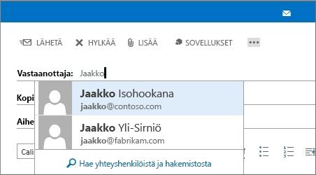 Outlook Web Appin automaattisen täydennyksen luettelo