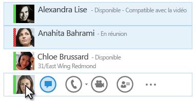 Capture d'écran illustrant les contacts et leur statut, ainsi que l'icône de messagerie instantanée en subrillance