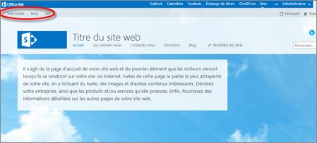 Mise en page par défaut du site web public Office365