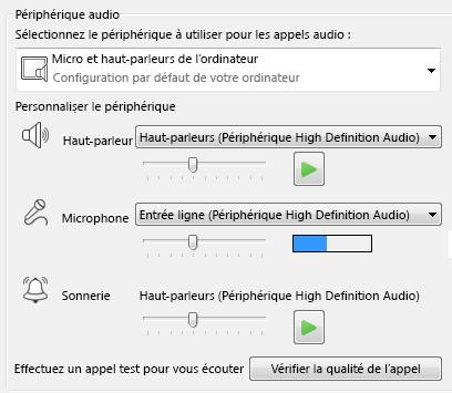 Capture d'écran de la zone de sélection Périphériques audio où vous pouvez définir la qualité audio