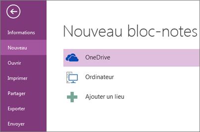 Processus Nouveau bloc-notes dans OneNote
