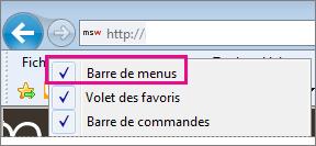 Affichage de la barre de menus dans Internet Explorer