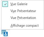 Capture d'écran des affichages de réunion disponibles quand la vue Galerie est sélectionnée