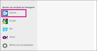 Page Ajouter vos comptes de messagerie de l'application Courrier  de Windows8