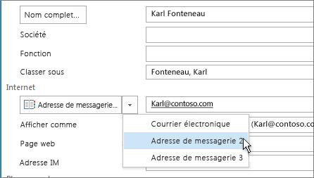 Ajouter une adresse de messagerie supplémentaire pour un contact