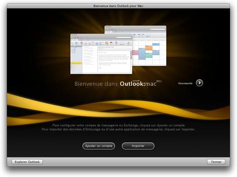 Écran de démarrage d'Outlook