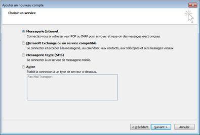 Option Sélectionner un serveur dans la boîte de dialogue Ajouter un nouveau compte