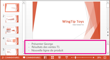 Les commentaires du présentateur apparaissent en bas de chaque diapositive