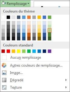 Menu d'options de couleurs dans Remplissage de la forme