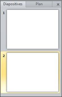 Le volet contenant les onglets Plan et Diapositives