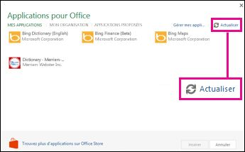 Bouton Actualiser dans Applications pour Office