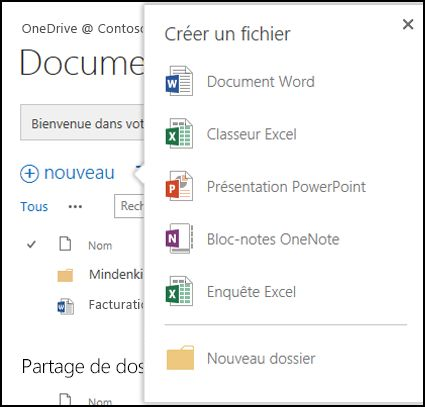Options Office Online que vous pouvez utiliser à partir du bouton Nouveau dans OneDrive Entreprise