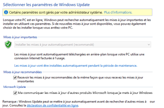 Paramètres Windows Update de Windows 8 dans le Panneau de configuration