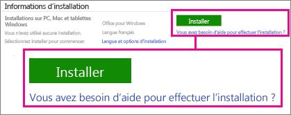 Sous Informations d'installation, choisissez Office pour Windows ou Office pour Mac, puis cliquez sur Installer.