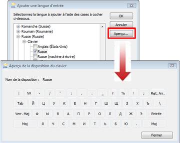 Boîte de dialogue Ajouter une langue d'entrée avec le clavier russe