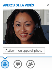Capture d'écran d'un aperçu vidéo avec l'option Allumer ma caméra sélectionnée