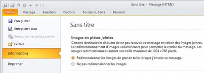 Options de redimensionnement des images jointes en mode Backstage