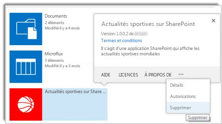 Capture d'écran de la commande Supprimer dans la légende de propriétés pour une application.