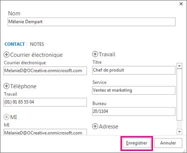 Ajout d'un nouveau contact à Outlook à partir d'un message