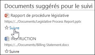 Documents suggérés que vous pouvez commencer à suivre