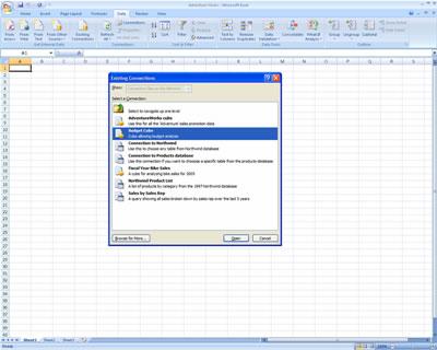 Fonctions d'importation de données Office Excel2007