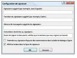 Boîte de dialogue Détails de la signature