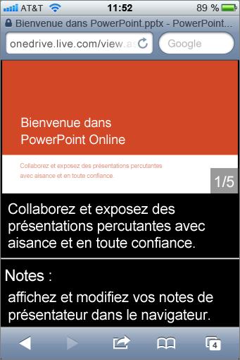 Diapositive et commentaires du présentateur dans la visionneuse Mobile pour PowerPoint