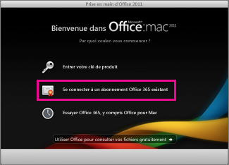 Page d'installation d'Office pour Mac Famille