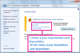 Liens dans le volet Windows Update