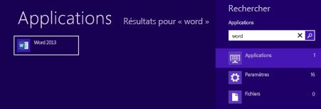 Démarrer Office dans Windows8 ou RT