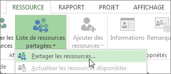 Ouvrez Partager les ressources à partir de la liste de ressources partagées