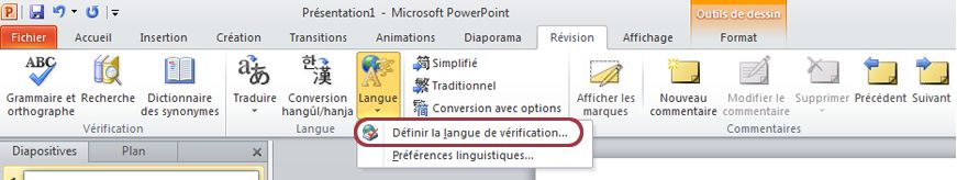 Ruban PowerPoint - onglet Révision - Définir la langue