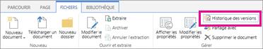 Capture d'écran de l'onglet Fichiers avec le bouton Historique des versions mis en évidence