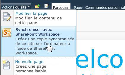 Sélectionnez cette option pour synchroniser un site SharePoint avec votre ordinateur