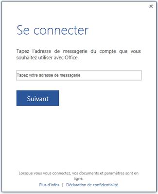 Premier écran de connexion ou écran de changement de compte