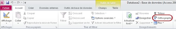 Ruban Access - Onglet Accueil - Orthographe