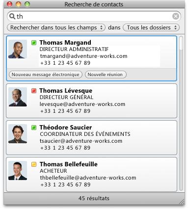 Boîte de dialogue Recherche de contacts