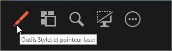 Utilisez l'outil Stylet et pointeur laser pour pointer sur ou écrire sur des diapositives