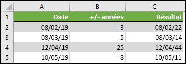 Ajouter ou soustraire des années à une date de début avec = DATE (ANNEe (a2) + B2; mois (a2); jour (a2))