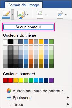 Option Aucun contour mise en évidence dans le menu Bordure de l'image