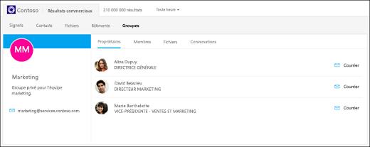 capture d'écran: recherche de groupes à l'aide de Bing pour les entreprises.
