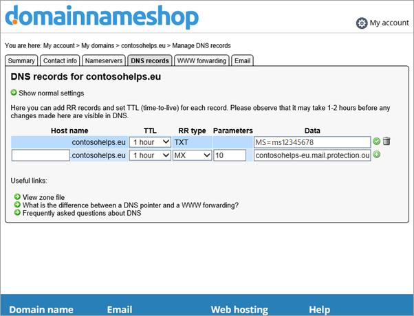 Enregistrement MX dans Domainnameshop